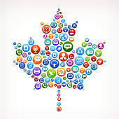 Maple Leaf with Social Networking & Internet Color Buttons