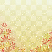 Maple leaves on Japanese traditional background