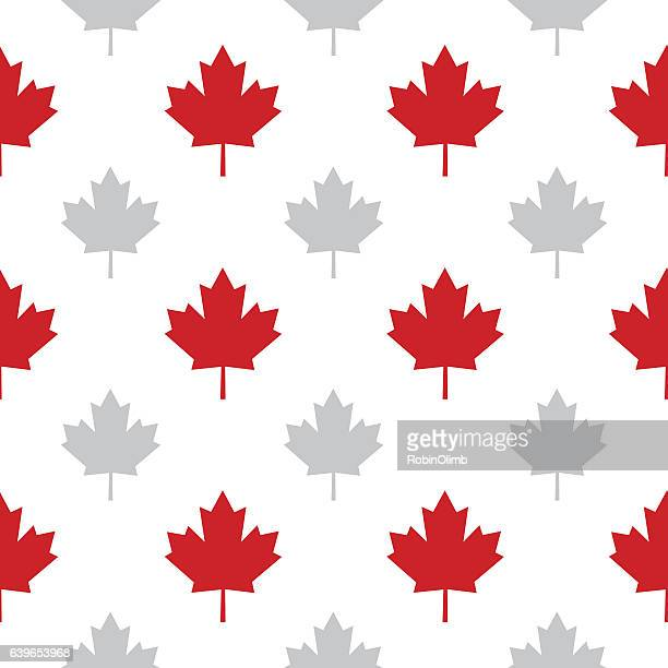 maple leaves seamless pattern - canadian culture stock illustrations