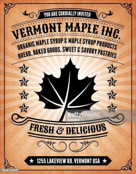 maple products invitation on royalty free vector background poster - maple syrup stock illustrations