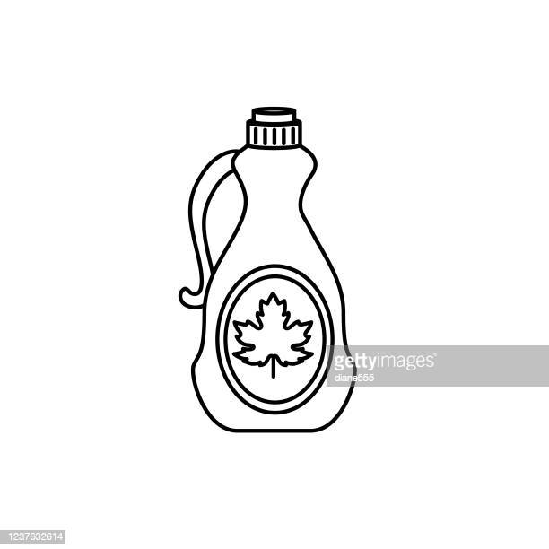 maple syrup breakfast icon in thin line style - maple syrup stock illustrations