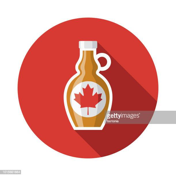 maple syrup flat design breakfast icon - maple syrup stock illustrations