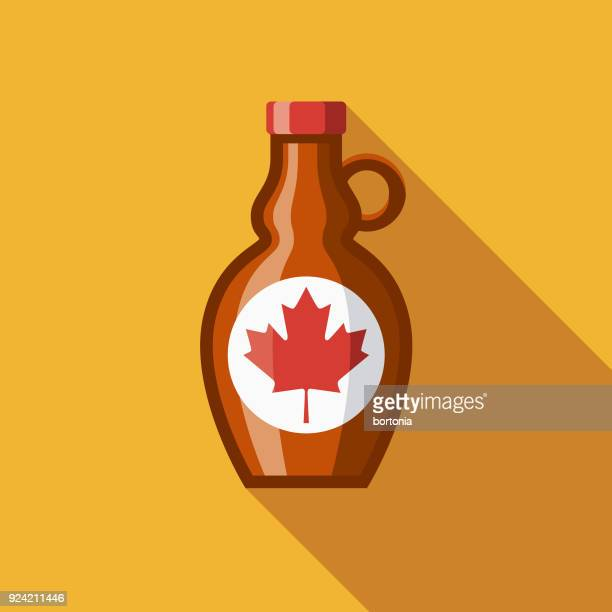 maple syrup flat design canadian icon with side shadow - maple syrup stock illustrations