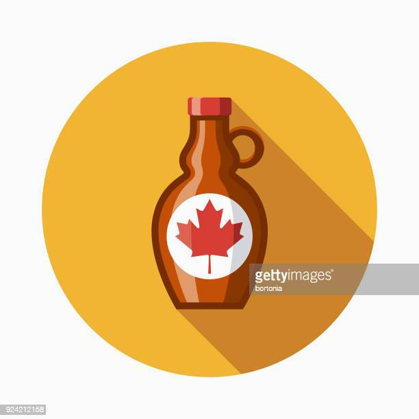 Maple Syrup Flat Design Canadian Icon with Side Shadow