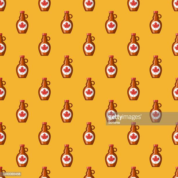 maple syrup seamless pattern - maple syrup stock illustrations