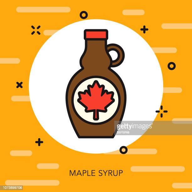 maple syrup thin line breakfast icon - maple syrup stock illustrations