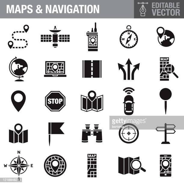 maps and navigation black glyph icon set - information symbol stock illustrations