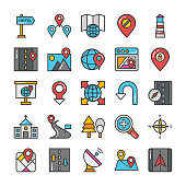 Maps and Navigation Colored Vector Icons Set 8