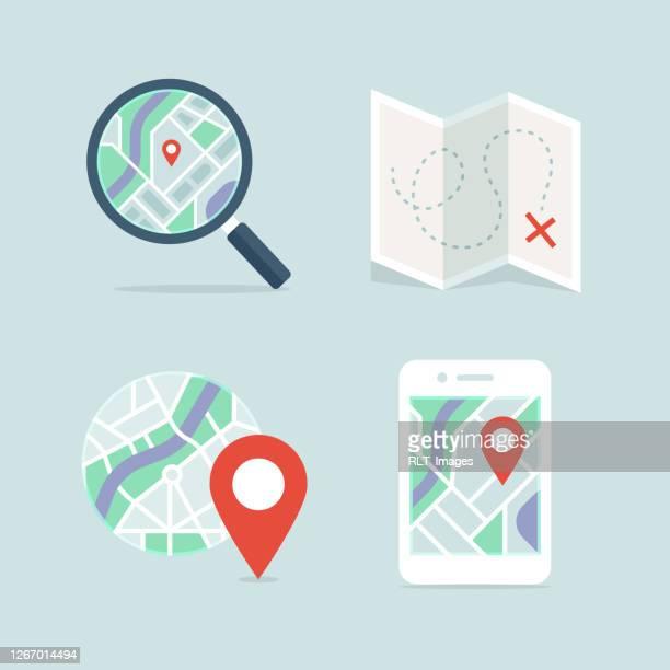 ilustrações, clipart, desenhos animados e ícones de mapas e navegação detalhados conjunto de ícones vetoriais de cores completas - direction