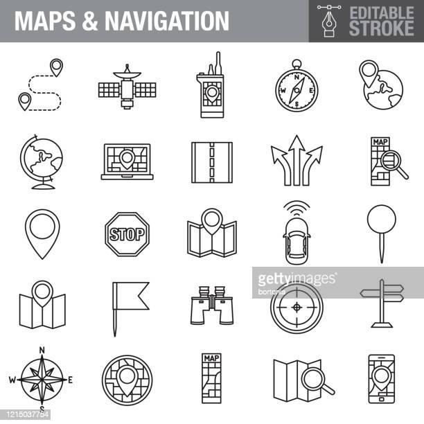 マップとナビゲーション編集可能ストロークアイコンセット - 一時停止の標識点のイラスト素材/クリップアート素材/マンガ素材/アイコン素材