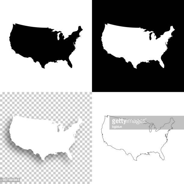 usa maps for design - blank, white and black backgrounds - werkzeug stock illustrations