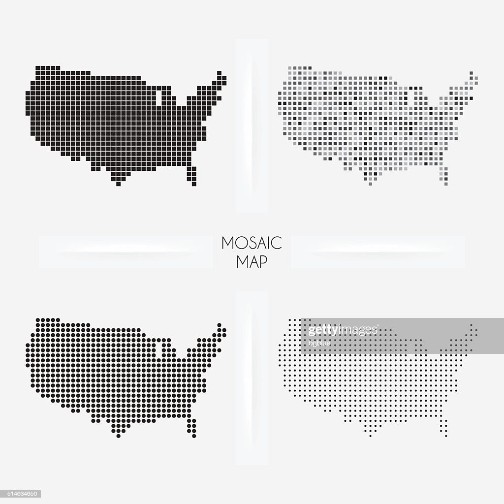 USA maps - Mosaic squarred and dotted