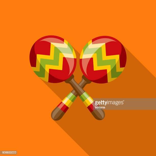 maracas flat design mexico icon with side shadow - maracas stock illustrations
