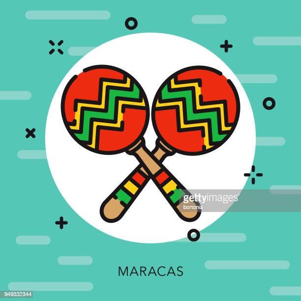 maracas open outline cinco de mayo icon - maracas stock illustrations