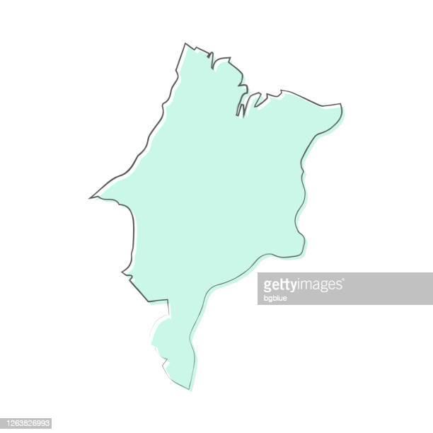 maranhao map hand drawn on white background - trendy design - maranhao state stock illustrations