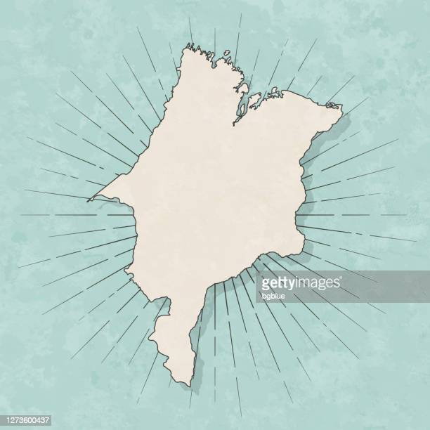 maranhao map in retro vintage style - old textured paper - maranhao state stock illustrations