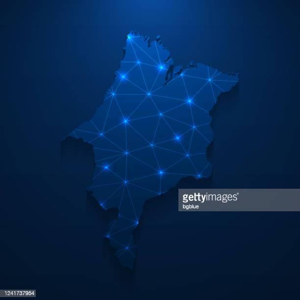 maranhao map network - bright mesh on dark blue background - maranhao state stock illustrations