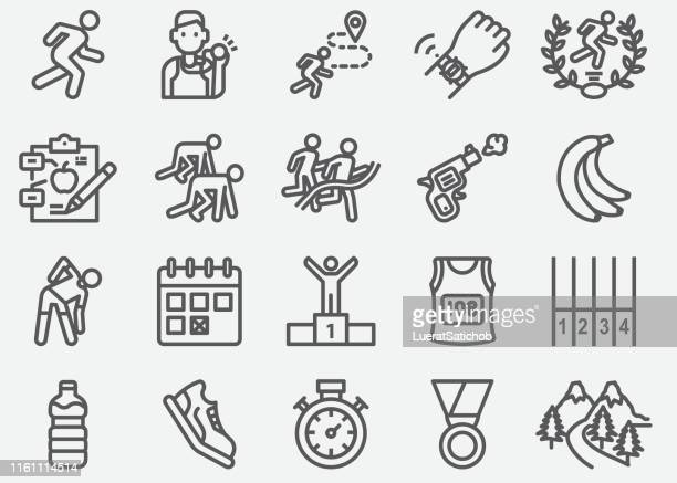 marathon and road running line icons - track event stock illustrations