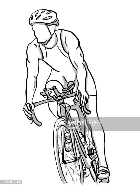marathon cycling training - racing bicycle stock illustrations