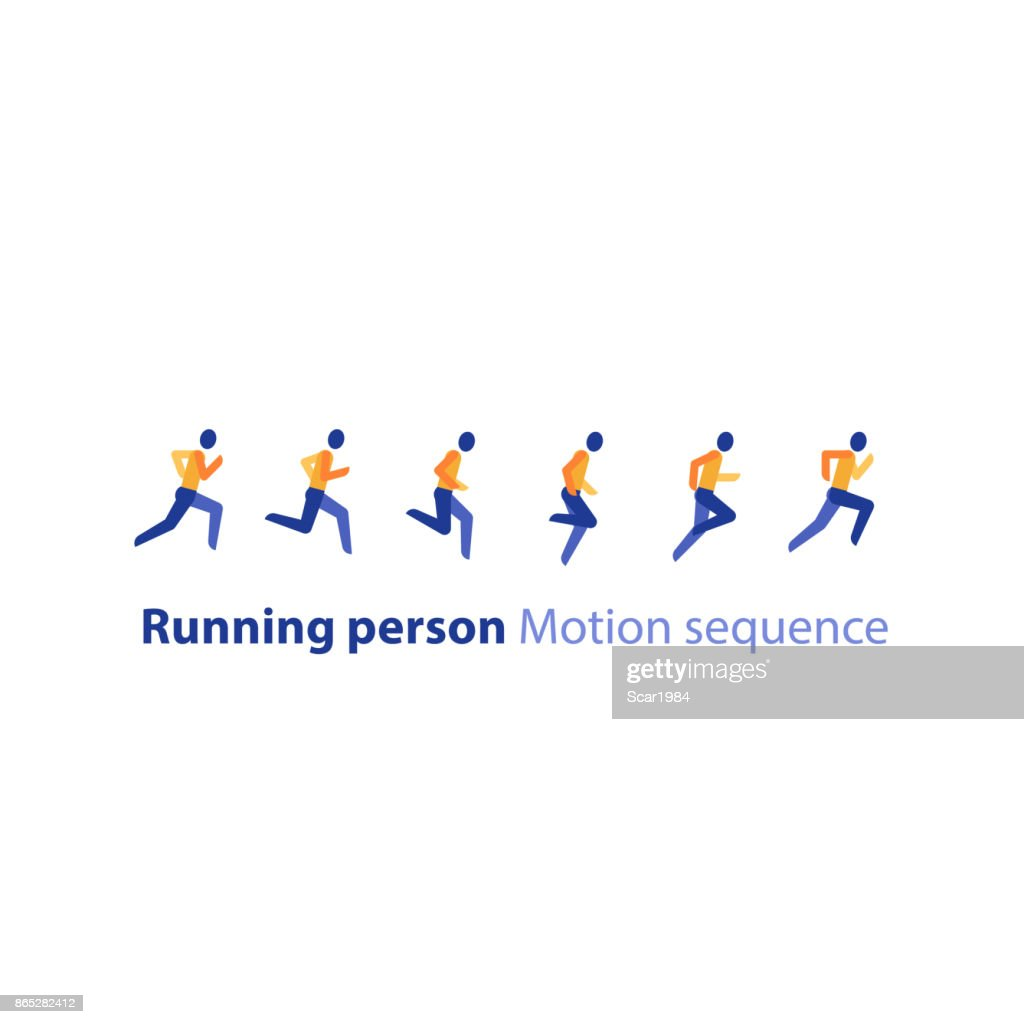 Marathon event, running sequence, runner motion steps, triathlon, vector icon