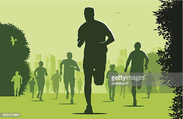 marathon runners in the city park - natural parkland stock illustrations, clip art, cartoons, & icons