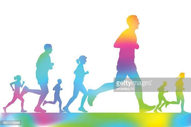 Marathon Runners in the city park