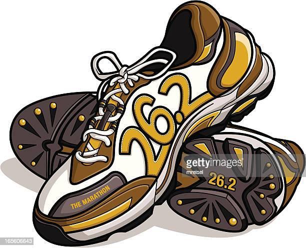 marathon running shoes - stepping stock illustrations, clip art, cartoons, & icons