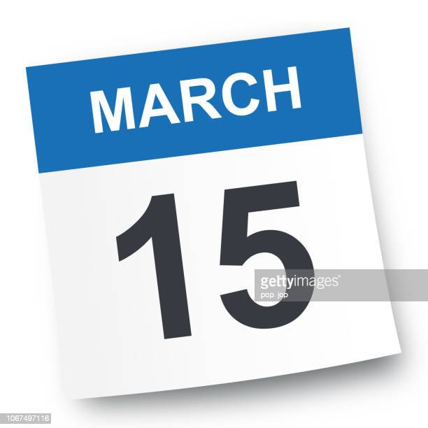 march 15 - calendar icon - day stock illustrations, clip art, cartoons, & icons