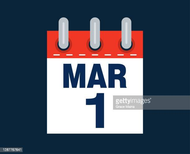 march 1st calendar date of the month - day 1 stock illustrations