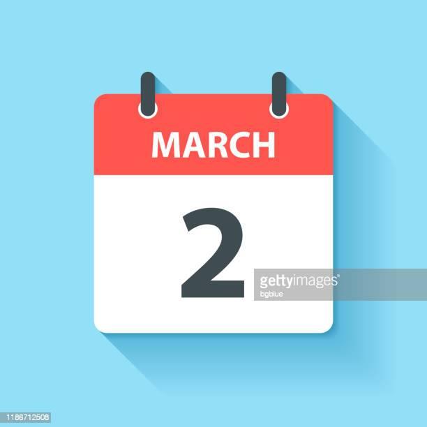 ilustrações de stock, clip art, desenhos animados e ícones de march 2 - daily calendar icon in flat design style - número 2