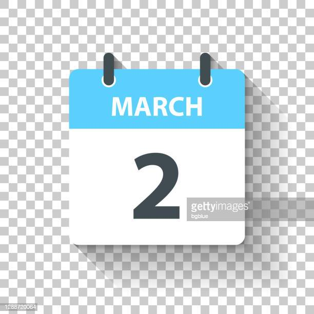 march 2 - daily calendar icon in flat design style - deadline stock illustrations