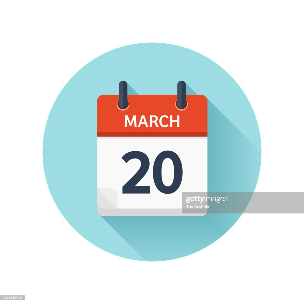 March 20. Vector flat daily calendar icon. Date and time, day, month 2018. Holiday. Season