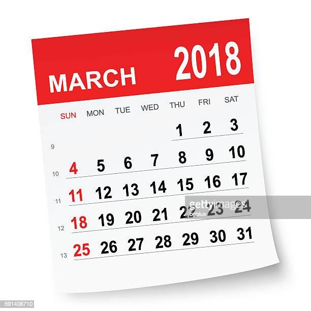 kalenderkalender märz 2018 - 2018 stock-grafiken, -clipart, -cartoons und -symbole