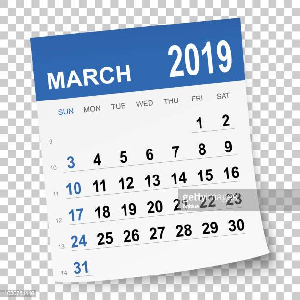 ilustrações, clipart, desenhos animados e ícones de calendário de março de 2019 - 2019
