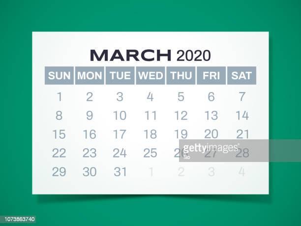 2020年 3 月カレンダー - 三月点のイラスト素材/クリップアート素材/マンガ素材/アイコン素材