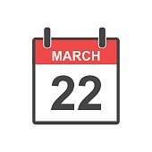 March 22 calendar icon. Vector illustration in flat style.