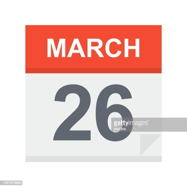 3 月 26 日 - カレンダー アイコン - 三月点のイラスト素材/クリップアート素材/マンガ素材/アイコン素材