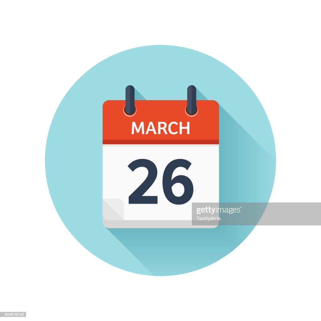 March 26. Vector flat daily calendar icon. Date and time, day, month 2018. Holiday. Season
