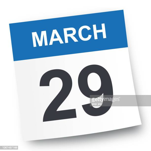 march 29 - calendar icon - page stock illustrations