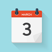 March 3 Calendar Flat Daily Icon. Vector Illustration Emblem. El