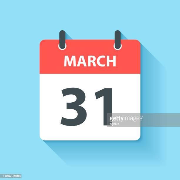 3月31日 - フラットデザインスタイルのデイリーカレンダーアイコン - 三月点のイラスト素材/クリップアート素材/マンガ素材/アイコン素材