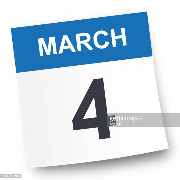 march 4 - calendar icon - calendar date stock illustrations