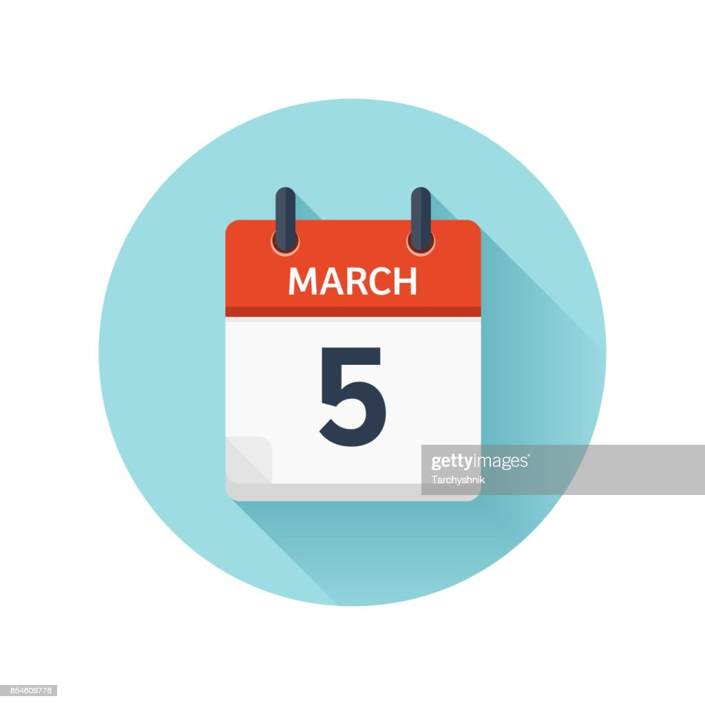 March 5. Vector flat daily calendar icon. Date and time, day, month 2018. Holiday. Season