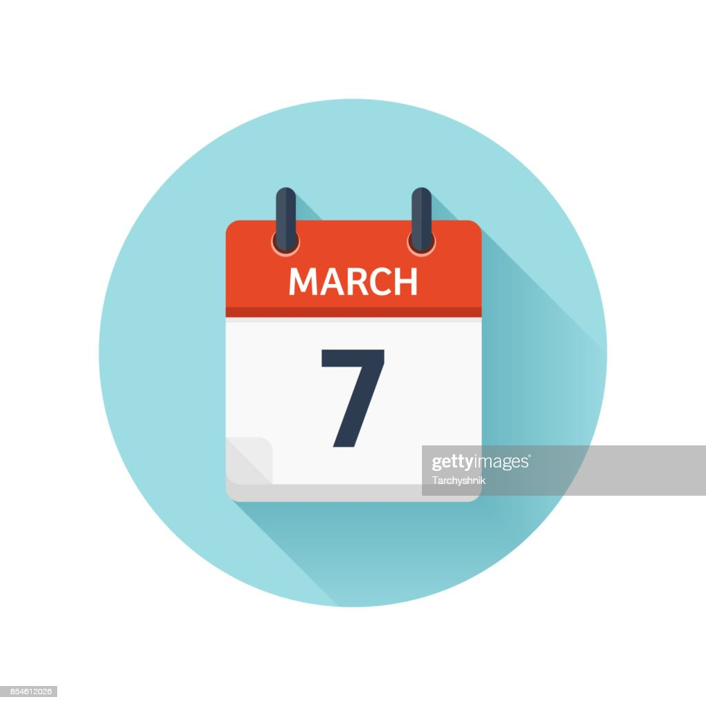 March 7. Vector flat daily calendar icon. Date and time, day, month 2018. Holiday. Season