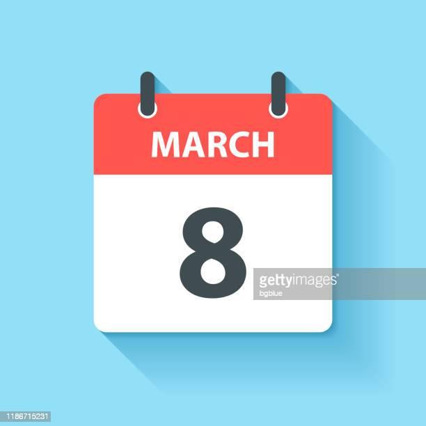 3月8日 - フラットデザインスタイルのデイリーカレンダーアイコン - 三月点のイラスト素材/クリップアート素材/マンガ素材/アイコン素材