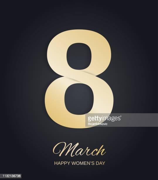 ilustraciones, imágenes clip art, dibujos animados e iconos de stock de diseño de oro del 8 de marzo sobre fondo negro. feliz día de las mujeres. ilustración vectorial. - feliz dia de la mujer