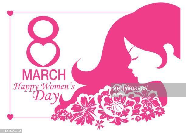 ilustraciones, imágenes clip art, dibujos animados e iconos de stock de 8 de marzo tarjeta de felicitación para el día internacional de las mujeres - feliz dia de la mujer