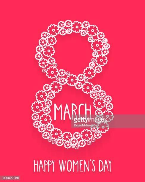 ilustraciones, imágenes clip art, dibujos animados e iconos de stock de 8 de marzo, día de la mujer feliz. rotulación a mano. ilustración de vector. - feliz dia de la mujer