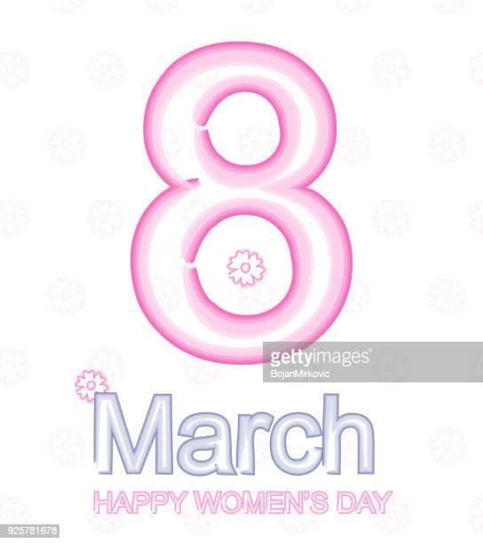 ilustraciones, imágenes clip art, dibujos animados e iconos de stock de 8 de marzo, día internacional de la mujer. texto de acuarela. ilustración de vector. - feliz dia de la mujer