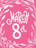 March 8th, pink feminine greeting card for international women's